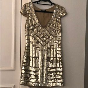Gold Sequin Bebe Dress